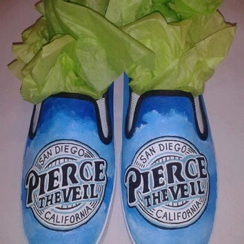 Custom Hand Painted Pierce The Veil Slip ons (NOT VANS BRAND)