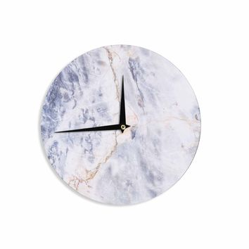 Light Marble - Blue White Geological Photography Wall Clock