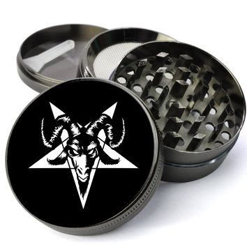 Satanic Goat Head Pentagram Deluxe Metal 5 Piece Herb Grinder With Fine Screen - Cheap Grinders You Can Customize