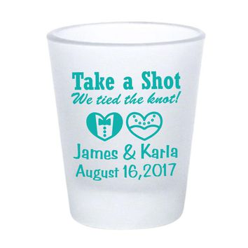 Frosted shot glasses, wedding favors, take a shot we tied the knot