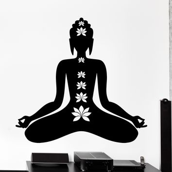 Wall Vinyl Decal Buddha Buddhism Lotus Om Zen Meditation Home Decor Unique Gift z4118