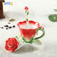 Creative Rose Flower Coffee Cup Chinese Ceramic Tea and Coffee Cups Set 1pc Bone