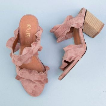 miracle miles (Mi.iM) - rachel casual ruffle wooden block heel in rose