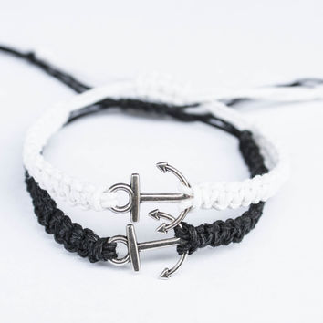 Anchor Bracelets Black and White Friendship or Couples