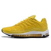 NIKE AIR MAX 97 PLUS Fashion New Hook Sports Leisure Running Shoes Women Yellow