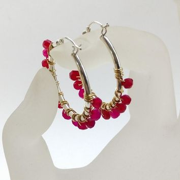 Hot Pink Chalcedony Wire Wrapped Sterling Silver Hoop Earrings