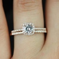 Barra Ultra Petite Size 14kt Rose Gold White Topaz and Diamonds Cushion Halo Wedding Set (Other Stone and Metals Available)