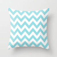 Chevron Baby Blue Throw Pillow by Lucy Helena