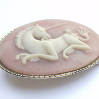 Vintage unicorn belt buckle, pink and white incolay stone womens belt buckle, fantasy princess, pink buckle