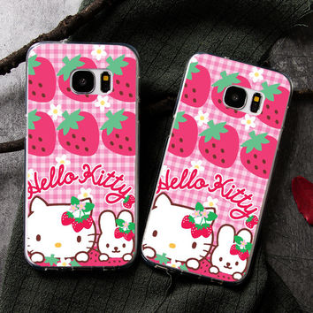 Cute Strawberry Hello Kitty Phone Case for Samsung Galaxy A-Series & S8/S8 Plus SmartPhones