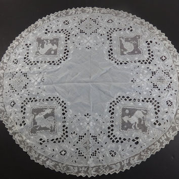 Victorian Linen Round Tablecloth with Filet Lace Animal Inserts-Downton Abbey embroidery,shawl,pillow cover