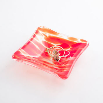 Bright Red Fused Glass Ring Dish, Jewelry Holder, Trinket Bowl, Catch All, Bedroom Accessories, Bathroom Decor, Boho Chic, Unique Gifts