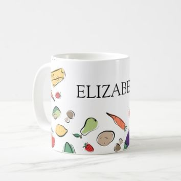 Food Doodles Custom Name Coffee Mug