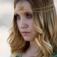 Gold Butterfly Head Chain, Headdress, Head Piece, Hair Jewelry, Hair Chain