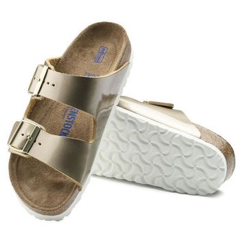 Sale Birkenstock Arizona Soft Footbed Leather Spectacular Platinum 1011431 Sandals