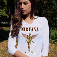 NIRVANA Shirt In Utero White Kurt Cobain Shirt Grunge 3/4 Raglan Long Sleeve TShirt Tee V Neck Women Lady T-Shirt