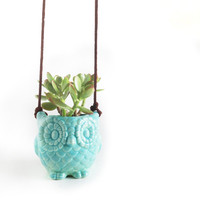Hanging Owl Planter in Mint - Owl Pottery - Mint Ceramic Owl