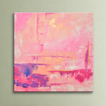 ON SALE Pink Gold Lavender White Original Square Abstract Painting on Canvas Wall Art 32x32 inch Home Decor Wall Hanging Unstretched AU12