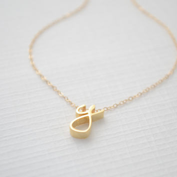Personalized Gold Cursive Initial Necklace