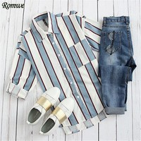 Long Sleeve Shirt Women Tops and Blouses Blue Striped Lapel With Pocket Casual Blouse