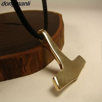 P881 Dongmanli Nordic Gold Thor Hammer Mjolnir Thor Viking Gothic Male Chain Necklace Pendant Jewelry Scandinavian