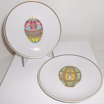Fabrege Egg B&B Plates Gold Accents Plate St Martin Email De Limoges Set Of 2