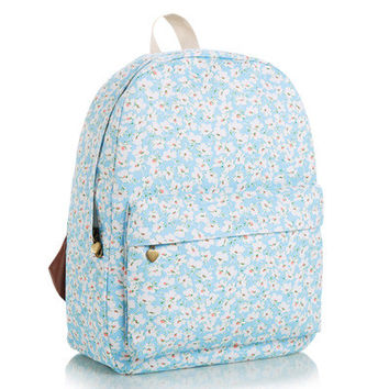 Cute Lovely Stripes Striped Canvas Korean Floral Animal Backpack = 4888028100