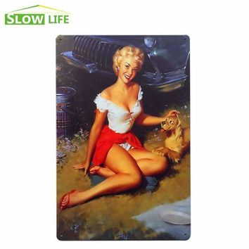 Sexy Girl And Dog Metal Tin Sign Hotel/Cafe Bar Wall Decor Metal Sign Vintage Home Decor Metal Plaque Retro Painting Metal Plate