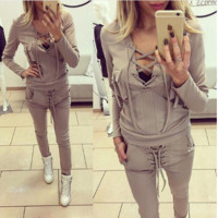 Solid color sexy deep V-neck tight suit female