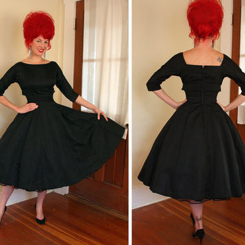 PERFECTION 1950's New Look Designer Inky Black Satin Party Dress by Jonathan Logan - Gored Beyond Circle Skirt - Shelf Bust - VLV - Size M