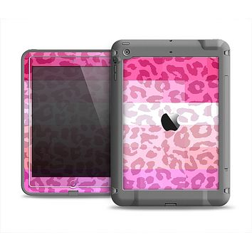 The Hot Pink Striped Cheetah Print Apple iPad Mini LifeProof Fre Case Skin Set