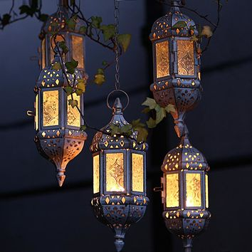 Vintage Metal Hollow Glass Moroccan Hanging Tea Light Holder/ Decorative  Lantern