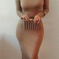 Coffee Colored Turtleneck Long Sleeve Midi Dress