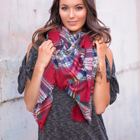 Cold Rush Plaid Blanket Scarf (Red, Blue, Green, Yellow)