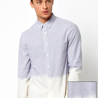 ASOS | ASOS Dip Dye Shirt With Ticking Stripe at ASOS