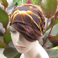 Fabric Bandana Head Band Women's Mirage Headband Head Wrap Headwrap Hair Accessory Brown and Sand