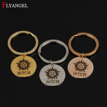 Fashion Hand Stamped Supernatural BITCH Men Women Jewelry Keyring Stainless Steel Keychain Couples Boyfriend Girlfriend Gift DIY
