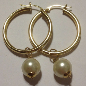 14K Pearls Earrings Charms 10mm Yellow Gold 4 Hoops 14KT Cultured Pearls Vintage Jewelry Estate Bridal Prom Birthday Anniversary Gift Real