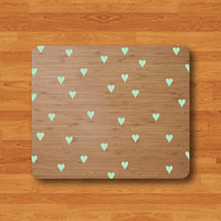 Little Mint of Heart Brown Wooden Texture Mouse Pad Desk Deco Sweet Cute Keyboard MousePad Work Pad Mat Rectangle Personal Gift Christmas