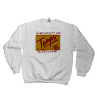 University of Maryland Terps Retro Turtle Gold Framed (White) / Crew Sweatshirt