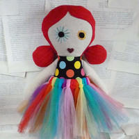 Mae the Modern Day Rag Doll - Creepy Cute Plush - Circus Theme Stuffed Soft Toy