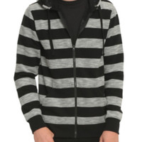 RUDE Black And Grey Striped Hoodie