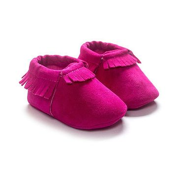 Newborn Baby Shoes PU Suede Soft Leather Tassels Soft Soled Non-slip Crib Shoes Ffirst Walker Fashion Girls Baby Shoes