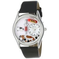 SheilaShrubs.com: Women's Veterinarian Black Leather Watch S-0130013 by Whimsical Watches: Watches