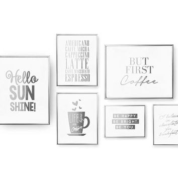 SET of 6 Prints, Morning Set, Hello Sunshine Print, But First Coffee, Real Gold Foil Print, Coffee Prints, Americano Caffe, Typography Art