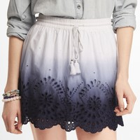 DIP DYED EYELET TRIM SKIRT