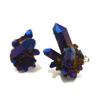 Titanium Quartz Cobalt Blue Rainbow Crystal Cluster 925 stud earrings by AstralEYE