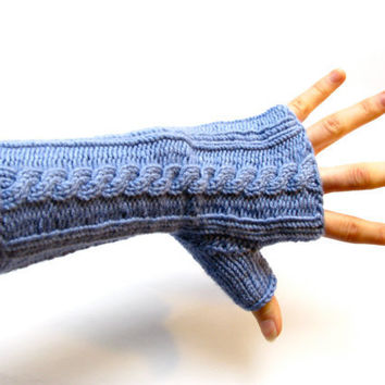 Fingerless Gloves Wristwarmers Knitted Periwinkle Cable Ribbed