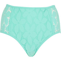 River Island Womens Aqua lace high waisted bikini bottoms