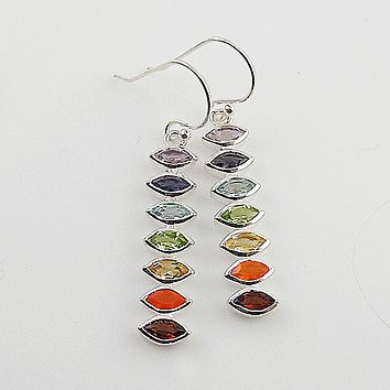 Multi Stone Chakra Marquee Line Sterling Silver Earrings